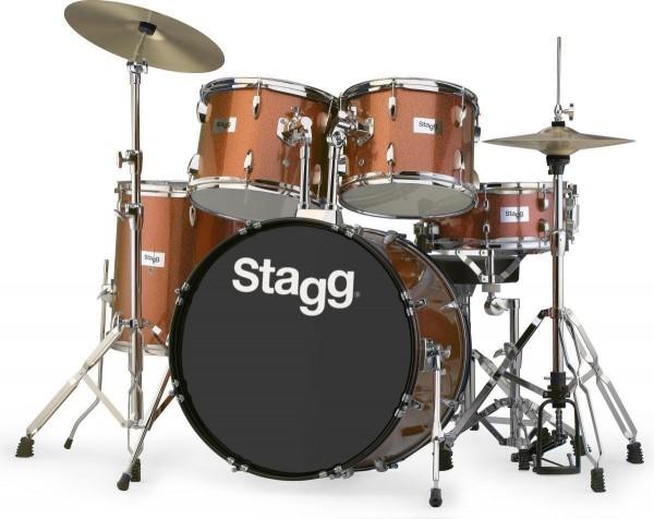 """Stagg TIM322B SPBR 5-teiliges, 22"""" Standard Linden Schlagzeug m. Hardware u. Becken"""