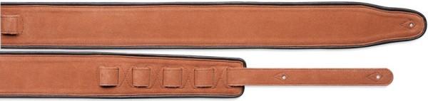 Stagg SLPL 51 LBRN/BK Orange und Schwarz Gitarrengurt gepolstert Leder und Rauleder (Rückseite Schwa