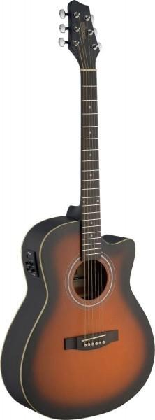 Stagg SA30ACE-BS Elektro-akustische Auditorium Gitarre Cutaway mit Lindendecke u