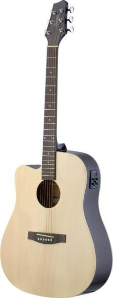 Stagg SA30DCE-N LH Elektro-akustische Dreadnought Gitarre mit Lindendecke u. CL-4 B-Band