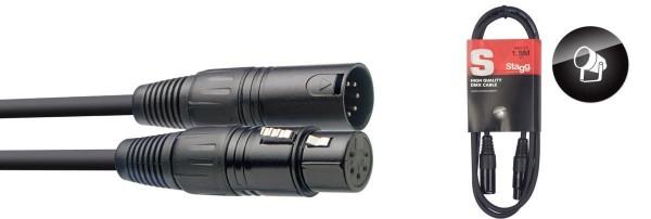 Stagg DMX-Kabel SDX1,5-5 XLR/XLR m/f 5 Pins 1,50 m