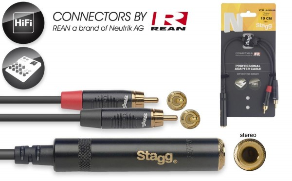 Stagg NYA010/JS2CMR N-Serie Y-Adapter Kabel -Stereo Phono Stecker/ 2x