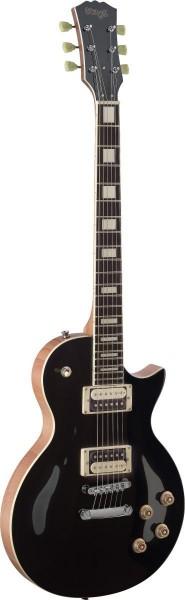Stagg SEL-ZEB-BK L Serie, Zebra E-Gitarre m. massivem Mahoganikorpus u. gewölbter Ahorndecke
