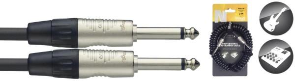 Stagg NGCC3R Klinke/Klinke m/m Instrumenten-Spiralkabel N-Serie 3 m