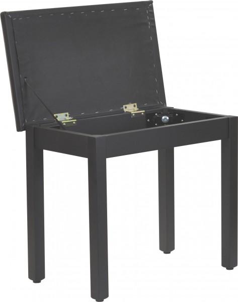 Klavierbank mit Notenfach in schwarz matt mit schwarzem Kunstleder