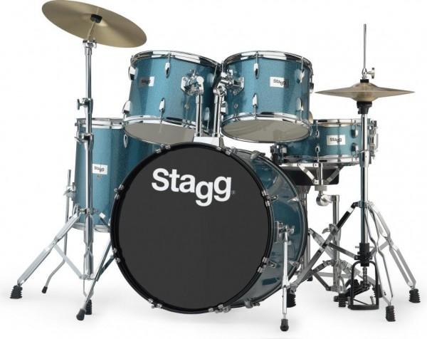 """Stagg TIM322B SPBL 5-teiliges, 22"""" Standard Linden Schlagzeug m. Hardware u. Becken"""
