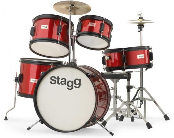 Kinderschlagzeug Stagg TIM J 5/16 RD 5-teiliges 16 Zoll Junior- Schlagzeugset rot