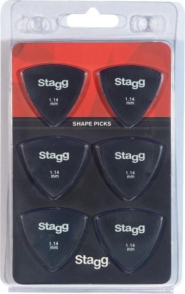 Packung mit 6 Stagg 1.14 mm dreieckigen Kunststoff Plektren