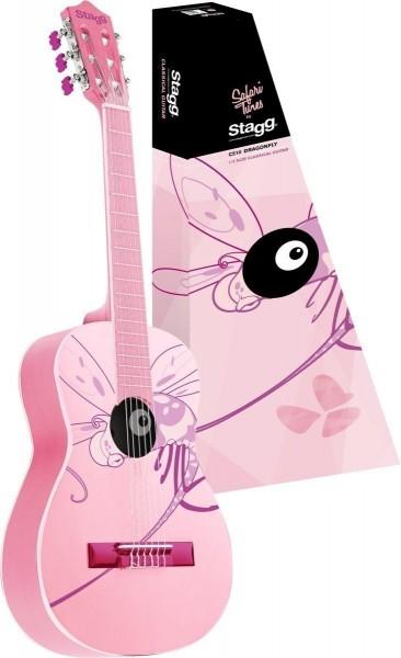Stagg C510 DRAGONFLY 1/2 Klassik-Gitarre in pink mit Lindendecke
