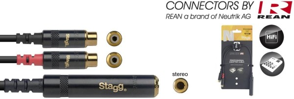 Stagg NYA010/JS2CFR N-Serie Y-Adapter Kabel - Stereo Phono Stecker/ 2x