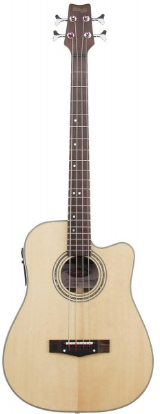 Stagg Elektro-Akustische Bass-Gitarre mit Cut-Away Fichten 3 Band EQ natur