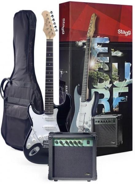 Stagg ESURF 250LHBKEU Surfstar E-Gitarre + Verstärker Pack, linkshandig modell