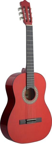 Stagg C542 TR 4/4 Klassik-Gitarre in dunkelrot mit Lindendecke