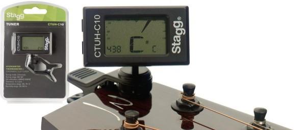 Stagg CTUH-C10 Auto-chromatisches Clip-On Stimmgerät m. eingebautem Thermo- u. Hygrometer