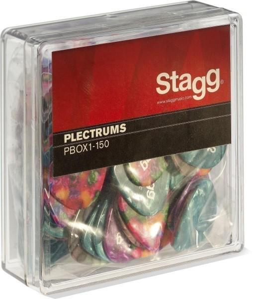 Stagg PBOX1-150 100 Stück Display-Box mit Zelluloid Standard-Plektrenverschiedene Farben 1.50 mm