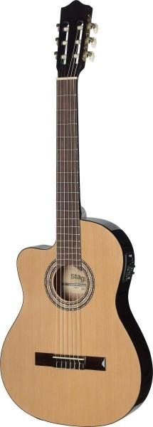 Stagg C546TCE-LH N Elektroakustik Klassik-Gitarre mit Cutaway und 4-Band EQ für Linkshänder