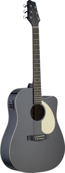 Stagg SA30DCE-BK Elektro-akustische Dreadnought Gitarre mit Lindendecke u. CL-4 B-Band