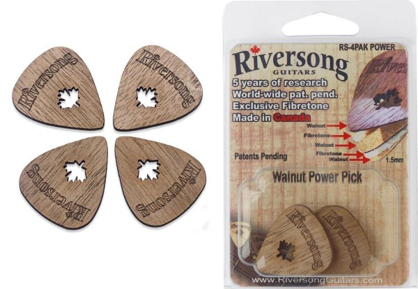 Riversong RS-4PAK POWER Packung aus 4 Riversong Power 2 mm Walnuss und Fibretone Plektren