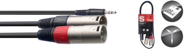 Stagg SYC1/MPS2XM Y-Kabel, Miniklinke/XLR (M/M), 1 m