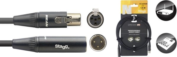 Stagg NAC1.5MXFMXMR N-Serie Audio Kabel - Mini 3pin XLR M / Mini 3pin