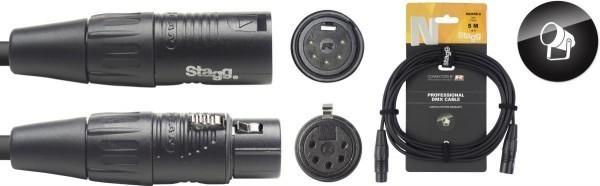 Stagg DMX-Kabel NDX5R-5 XLR/XLR m/f 5 Pins N-Serie 5 m