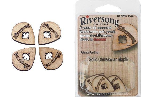 Riversong RS-4PAK JAZZ Packung aus 4 Riversong Jazz 2 mm Ahorn Plektren