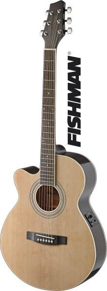 Stagg SA40MJCFI-LH N Mini-Jumbo, elektro-akustische Konzertgitarre m. FISHMAN Preamp