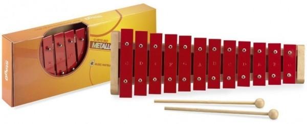 Stagg META-J12 RD Glockenspiel mit 12 großen Klangplatten rot